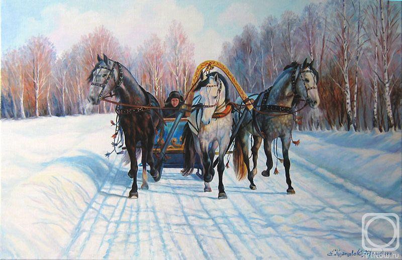 Надписью, тройка белогривых зимних коней открытки