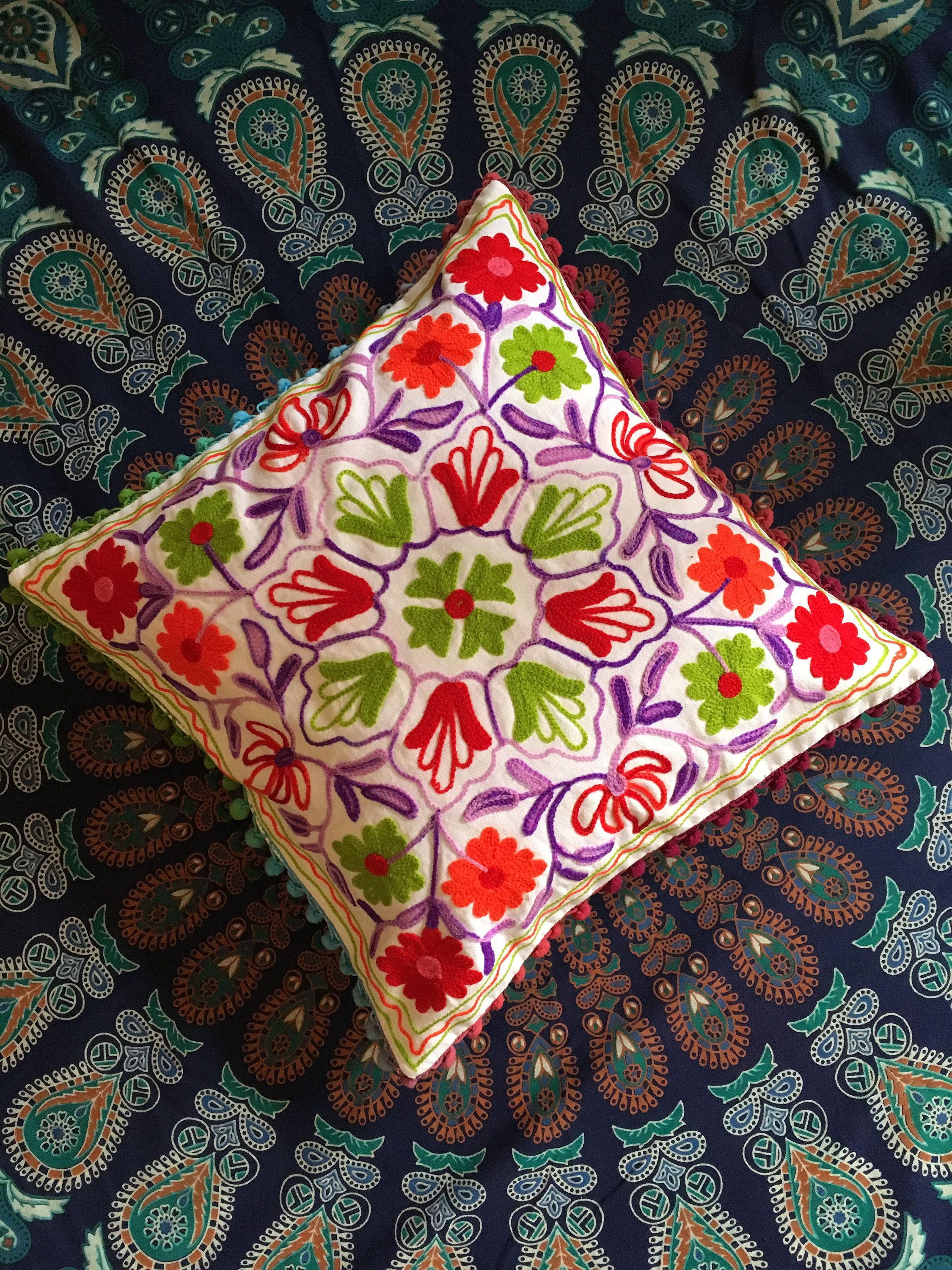 India Embroidery Handmade Pillow Insert Floral Designer Pillow