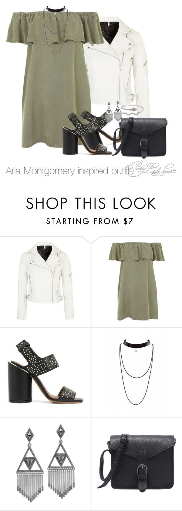 """Aria Montgomery inspired outfit/PLL"" by tvdsarahmichele ❤ liked on Polyvore featuring Topshop, Givenchy and House of Harlow 1960"