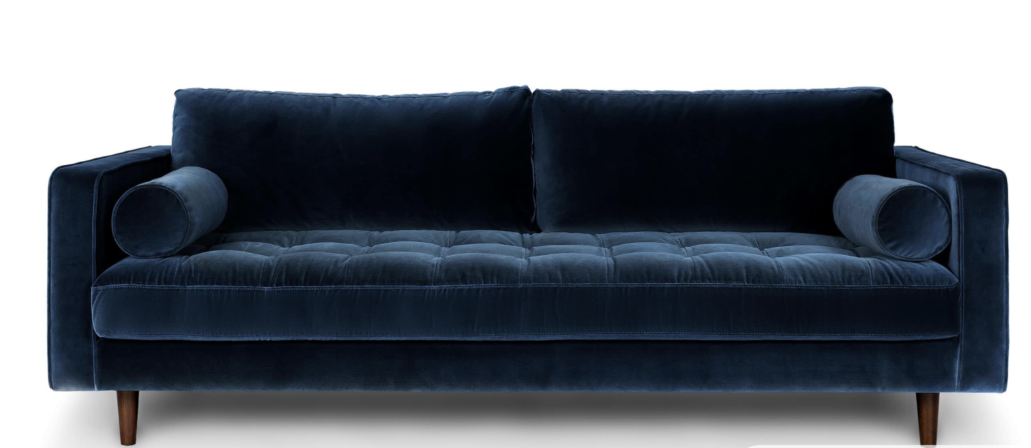 Blue Velvet Tufted Sofa  Upholstered   Article Sven Modern Furniture is part of Modern Home Accents Couch - There's a reason this is our most popular sofa  This modern take on a midcentury classic features crisp lines, a tufted benchseat, and two luxuriously stuffed back cushions  Two matching round bolsters complete the look