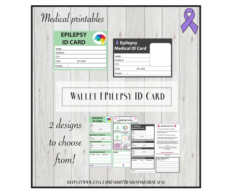 Epilepsy medical alert id card pocket wallet id school