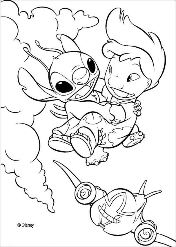 A Coloring Page Of Lilo Flying With Stitch A Cute Drawing