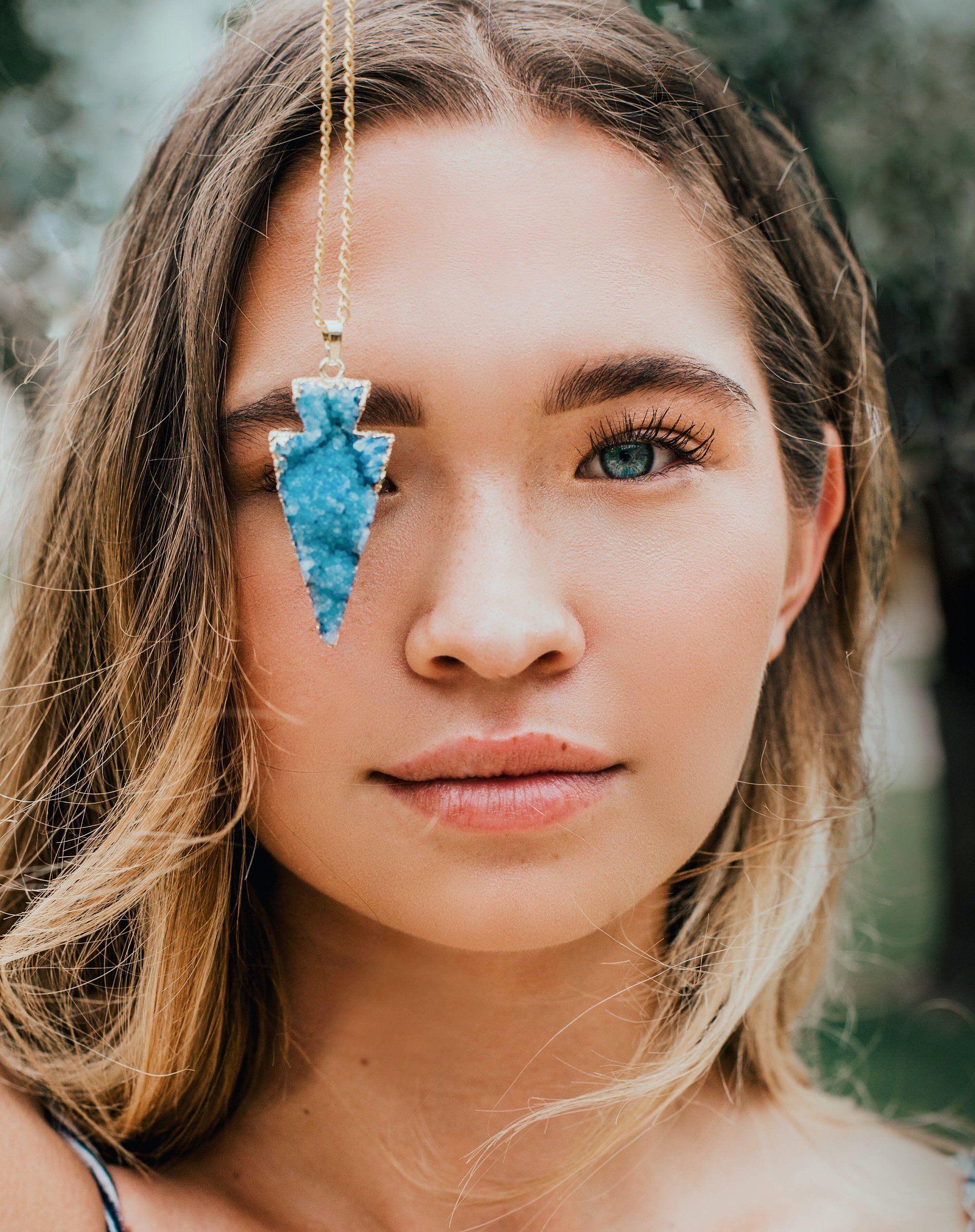 Photo of Blue Druzy Arrowhead Necklace