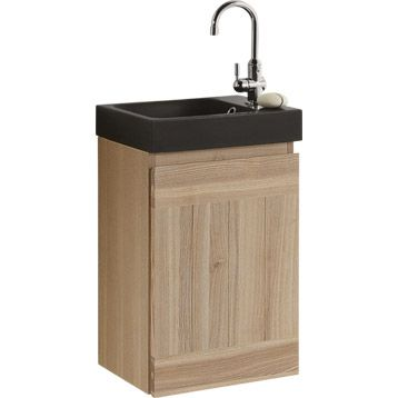 Meuble lave mains sensea mano avec miroir leroy merlin for Meuble lave main toilette