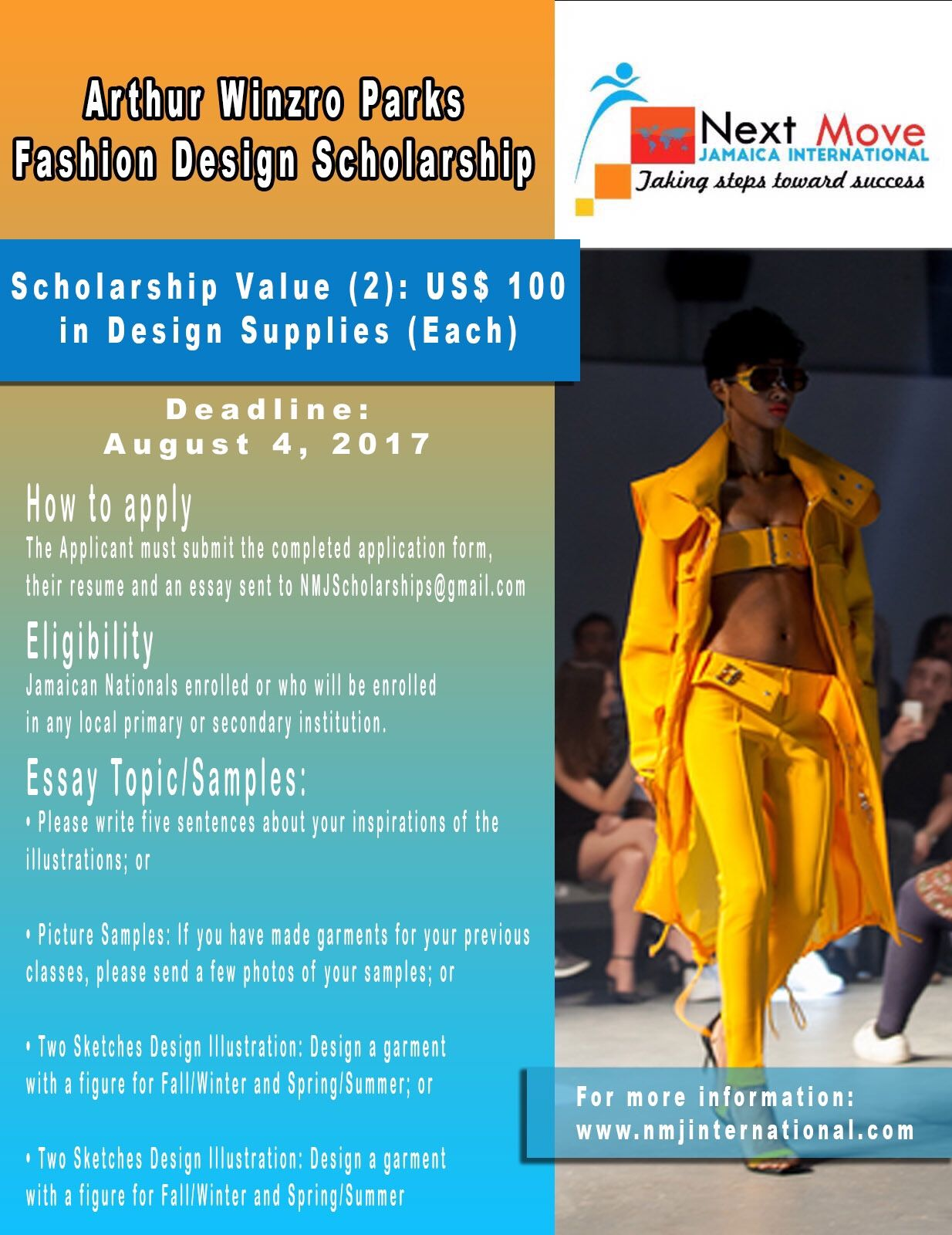 Arthur Winzro Parks Fashion Design Scholarships For Students In Jamaica One Award At Us 200 By August 4th Scholarships Jamaica How To Apply