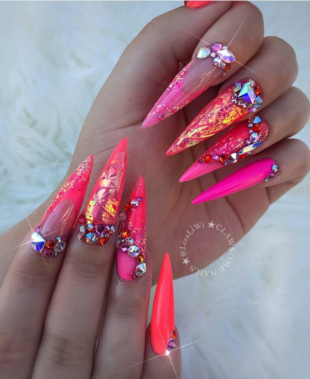 Pinterest Kiania Stiletto Nails Designs Glass Nails Long