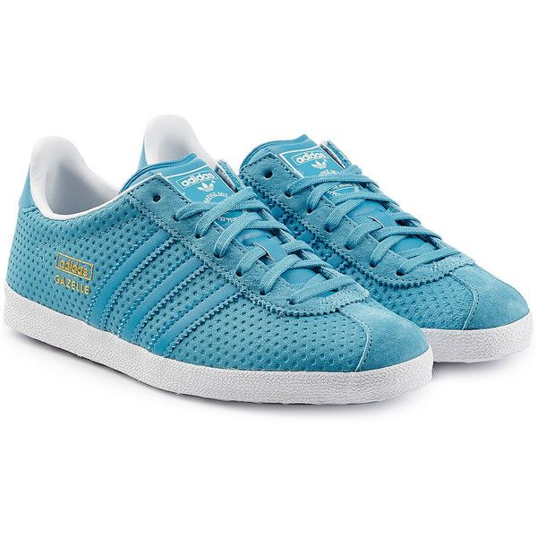 online retailer 229c0 91421 Adidas Originals Mesh Leather Gazelle Sneakers ( 81) ❤ liked on Polyvore  featuring shoes, sneakers, blue, genuine leather shoes, leather trainers,  ...