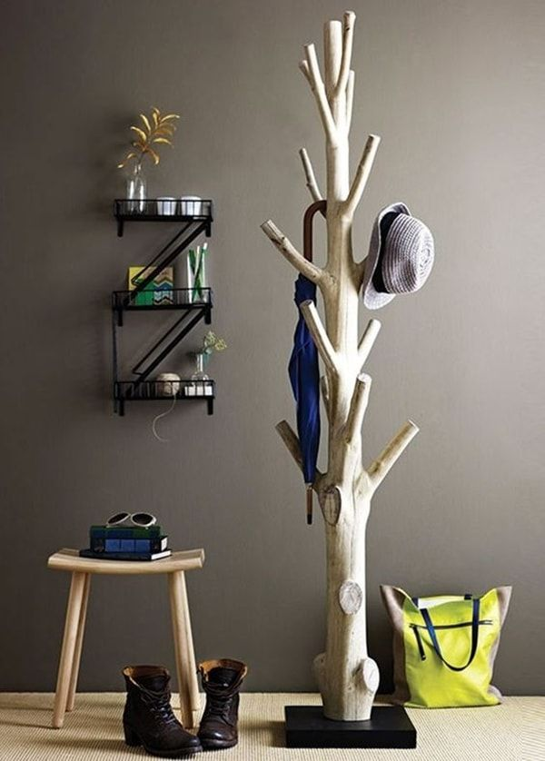 Decoración con troncos reciclados Arbol seco, Perchero y Decoración