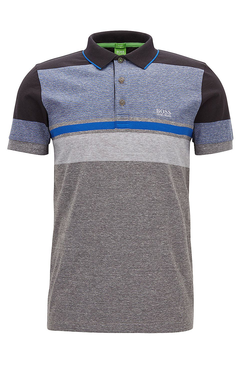 f53592bdec60 Striped Cotton Polo Shirt, Slim Fit | Paule Grey from BOSS Green for Men  for $125.00 in the official HUGO BOSS Online Store free shipping