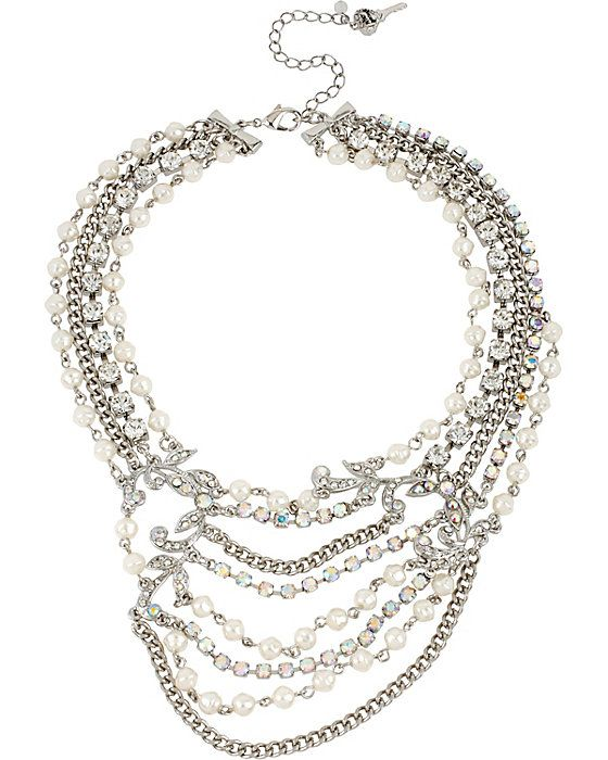 Multi Row Pearl Necklace: STONE PEARL MULTI ROW NECKLACE PEARL Accessories Jewelry