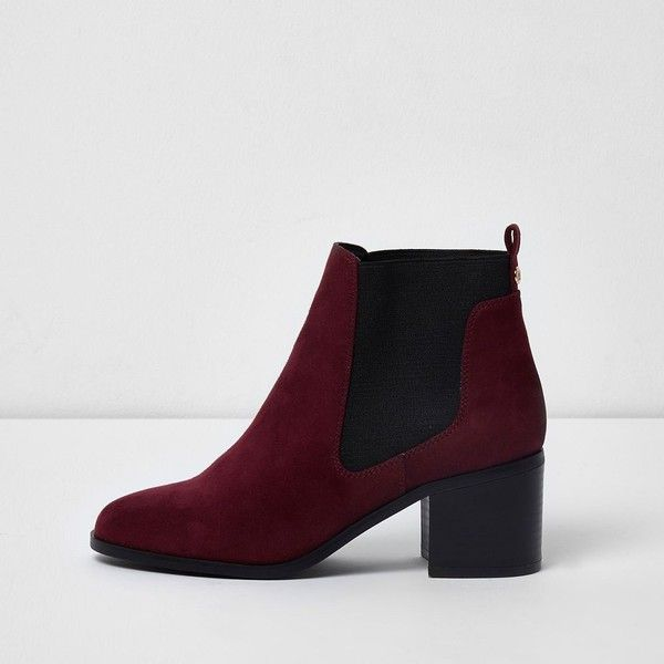 Womens Red block heel shoe boots River Island Footaction aIPx0vvB