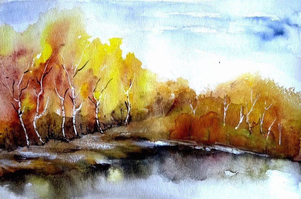 Aquarell Landschaft Landschaftsaquarell Kaufen Baume Fluss