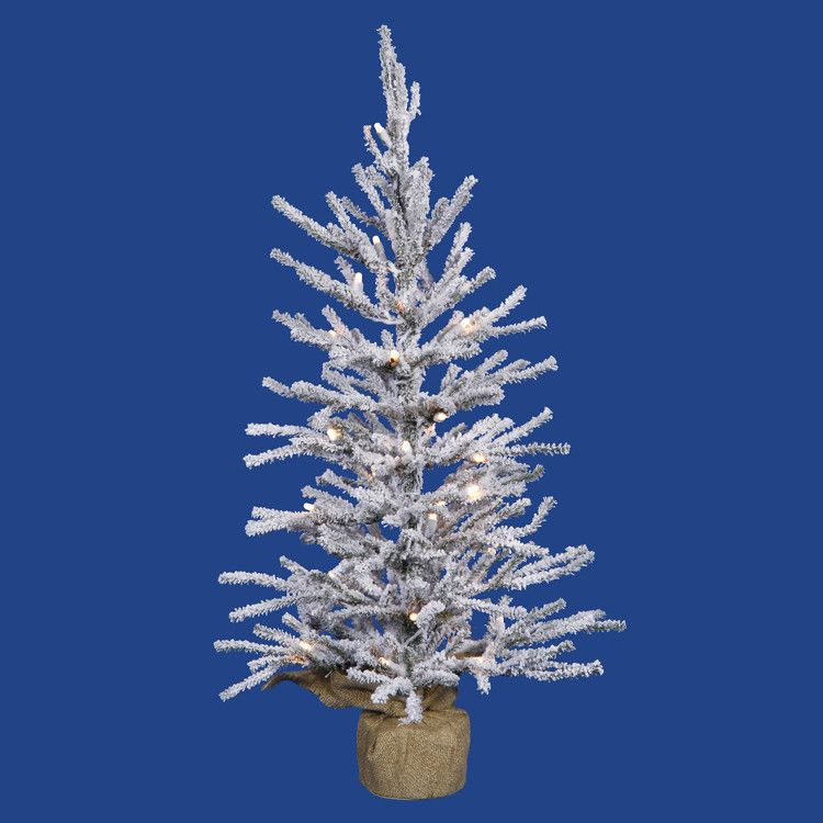 2' Pre-Lit Flocked Angel Pine Artificial Christmas Twig Tree - Clear Lights