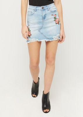 7b9e8b990b Stitched Rose Distressed Jean Mini Skirt | Mini | rue21 | New Style ...