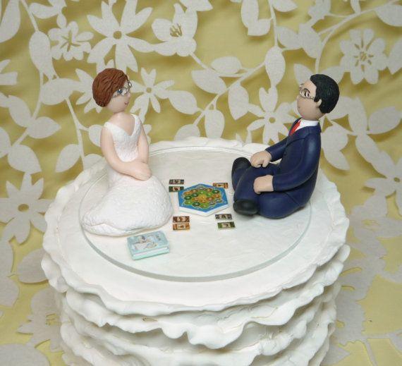 Custom Wedding Cake Topper Bride And Groom Gamer Catan Board