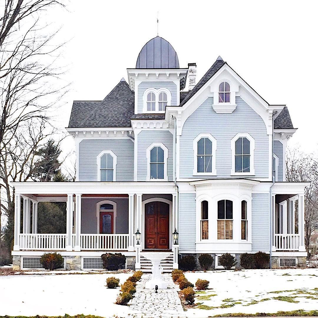 Gray Victorian House With Wood Front Door Victorian Homes Exterior Victorian Farmhouse Victorian House Colors