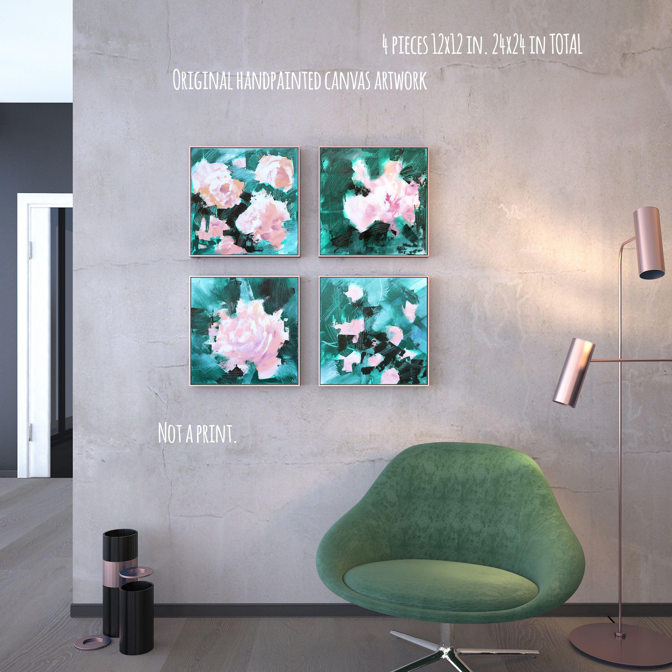 24x24 Set Of Original Green Canvas Wall Art Blush Etsy Wall Canvas Pink Abstract Art Green Wall Art