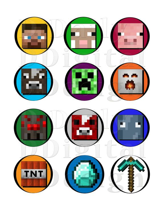 Minecraft DIY Printable Stickers/ Cake/Cupcake Toppers/ Party Favors