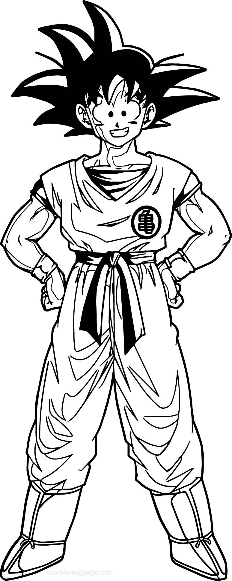 Awesome Goku Happy Coloring Page Coloring Pages Goku Coloring Sheets For Kids