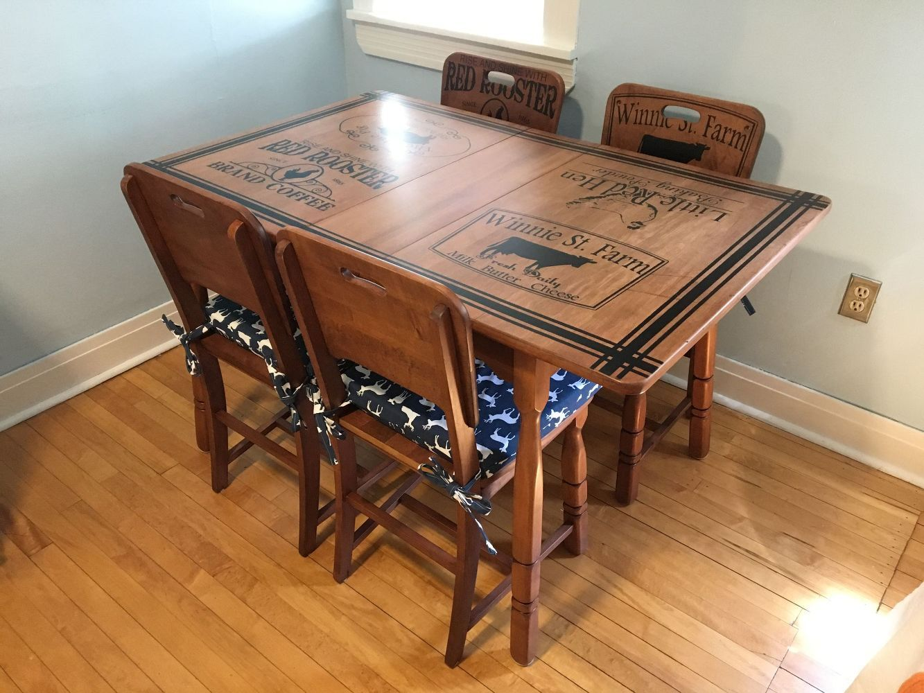 Refinished kitchen table u chairs with beautiful stenciling