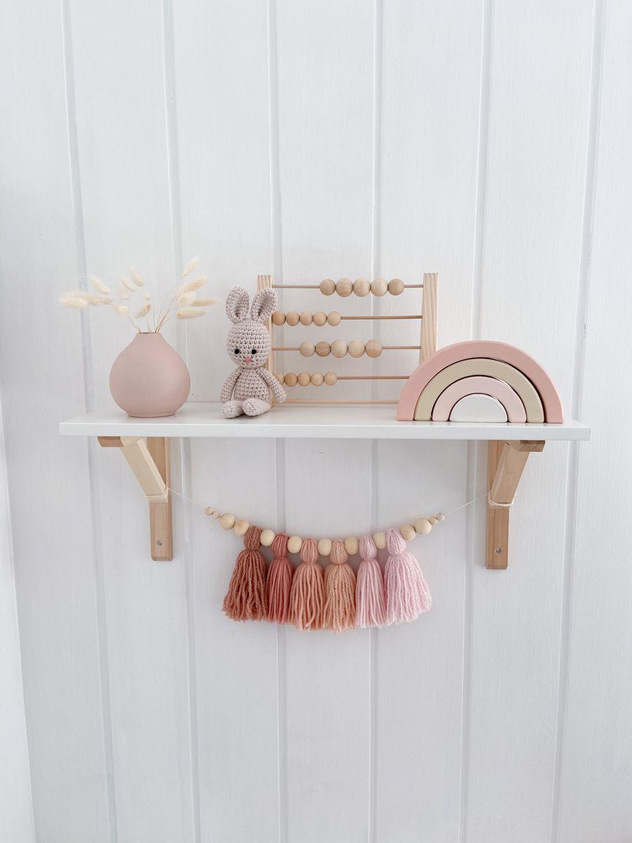 Girls room shelf decor ideas   Pink boho nursery