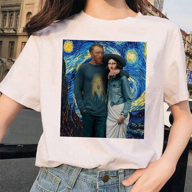 Mona Lisa T Shirt Streetwear clothes Hip Hop Style Casual friends Short Sleeve Harajuku Tshirts Top Tees women female 90S funny - 4579 - 484140854798-7