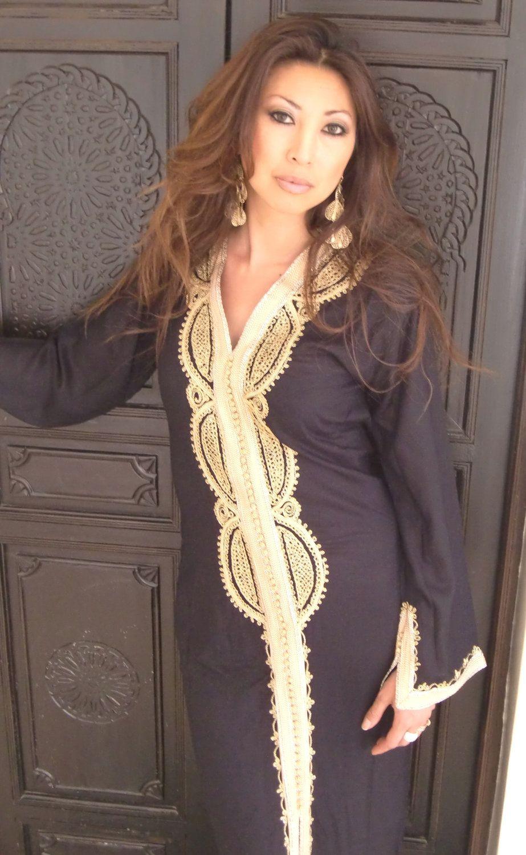 Black moroccan caftan kaftan lella kaftan caftan loungewear