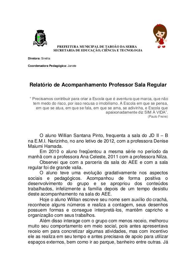 Relatorio De Acompanhamento Do Professor Do Aee E Sala Regular