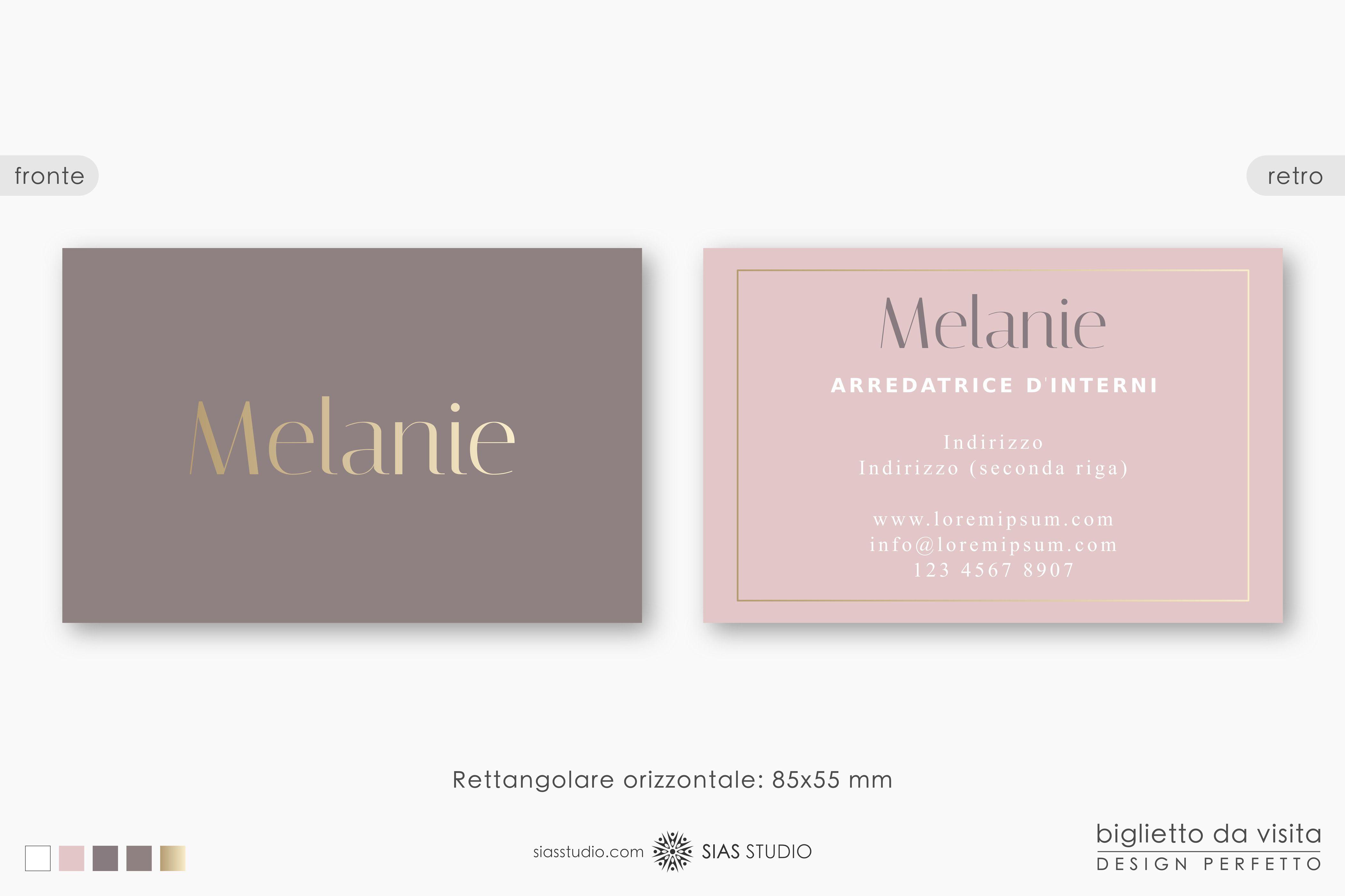 Modello Per Biglietto Da Visita Melanie Design Effetto Oro