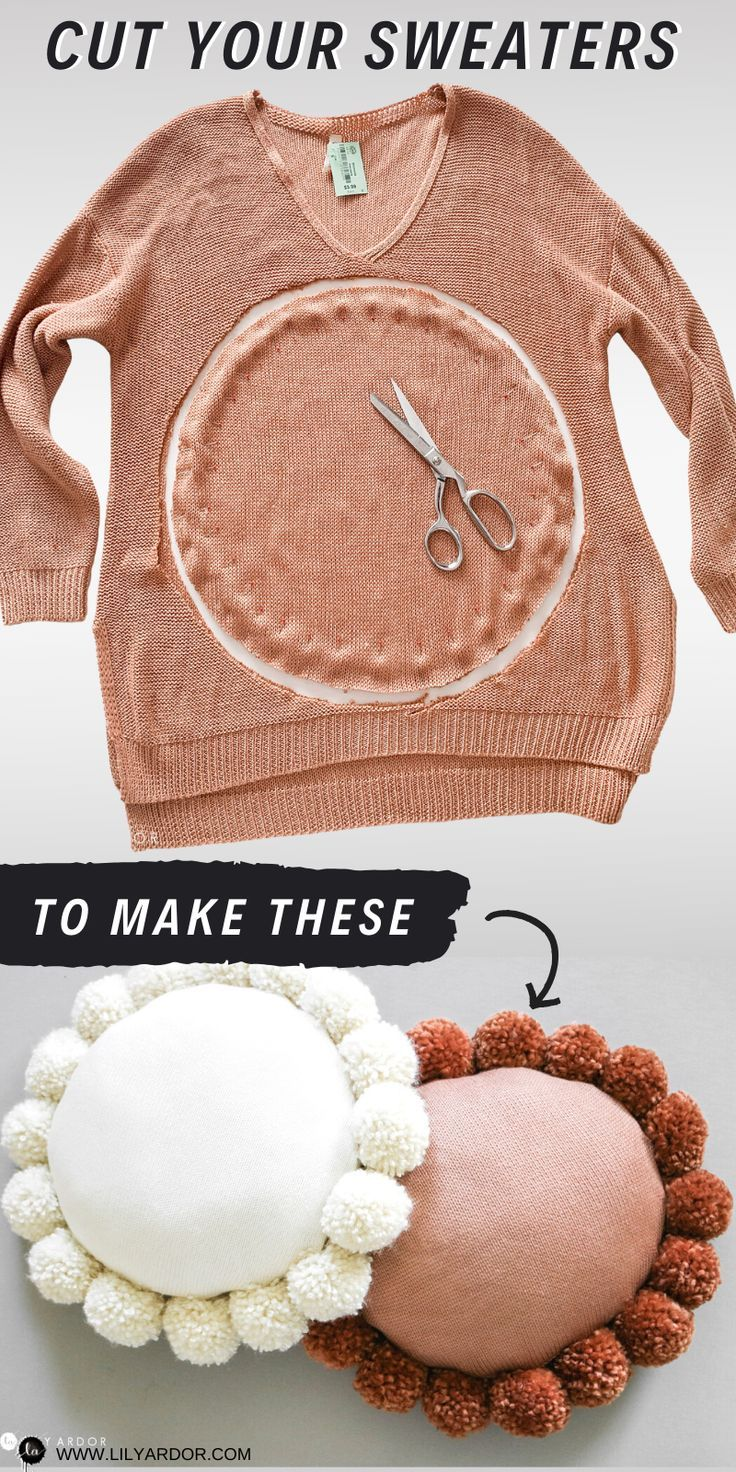 DIY Round Throw Pillow WITH POM POMS! USE THRIFTED SWEATER!