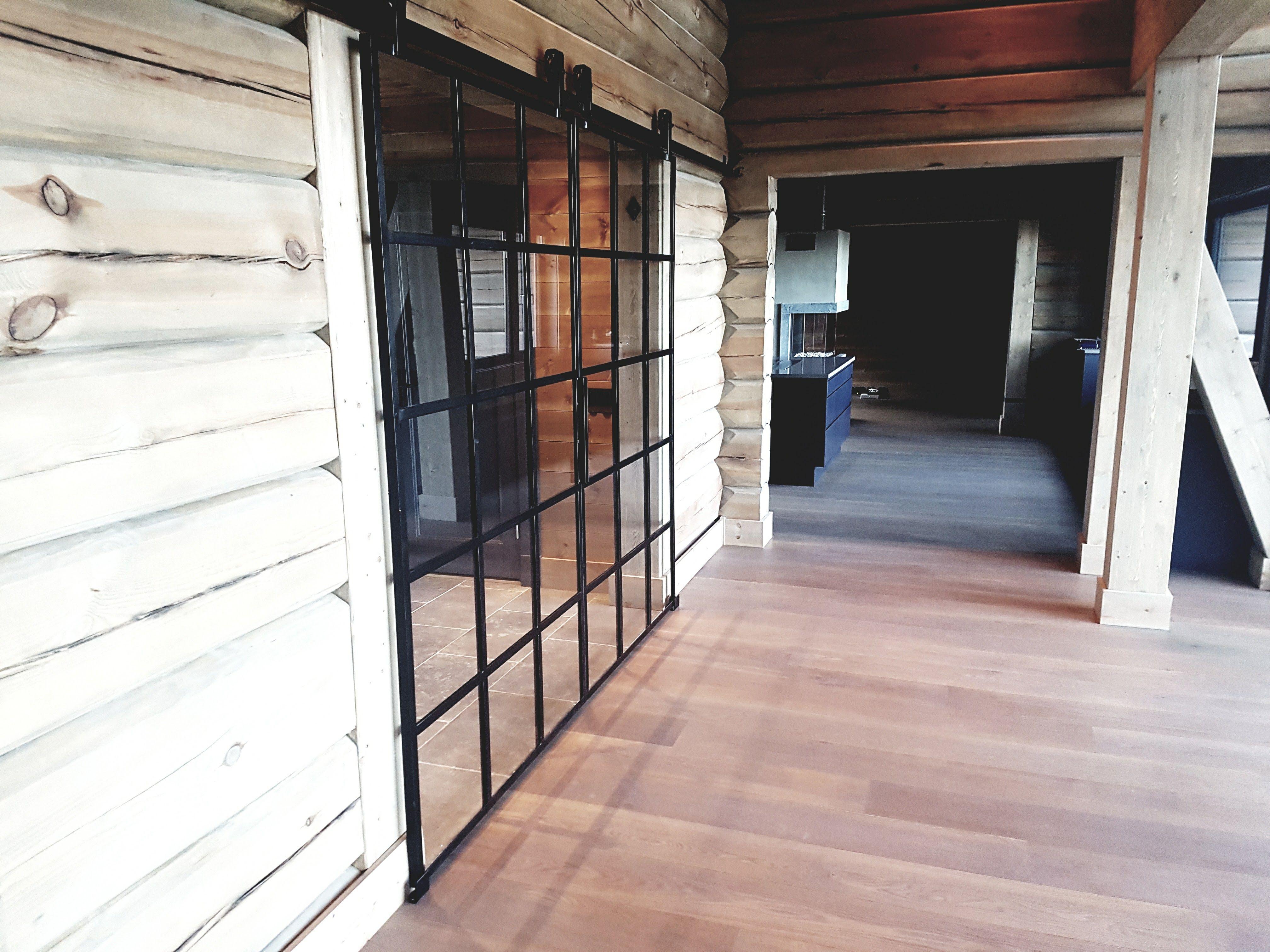 Glass door with wrought iron frame Glass door with wrought iron frame – slide …