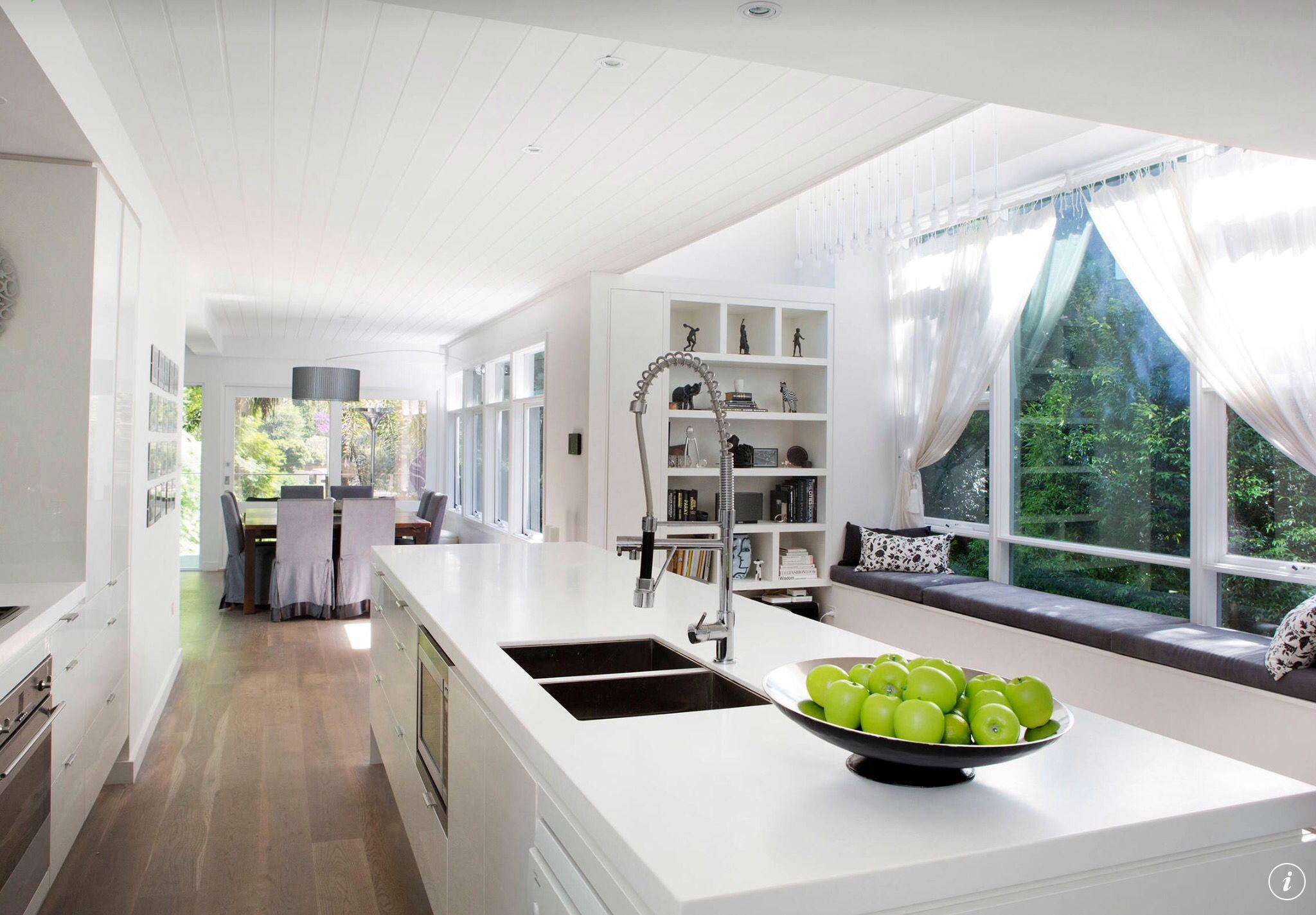White kitchen, window seat