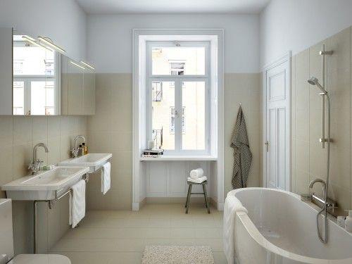 Badkamerinspiratie Klassieke badkamer met wand en vloertegels Tegels ...