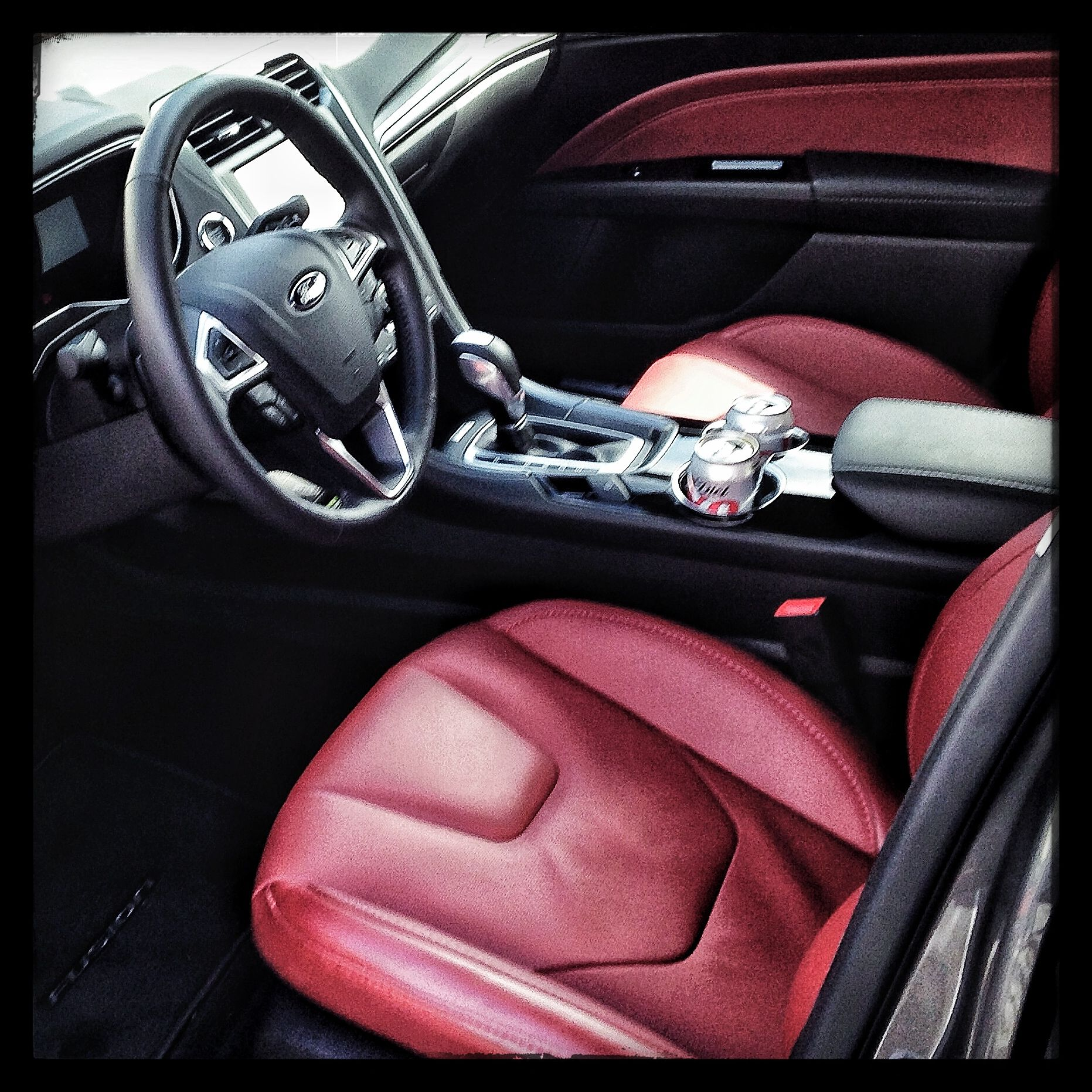 Luscious red interior of 2014 ford fusion iseecars com