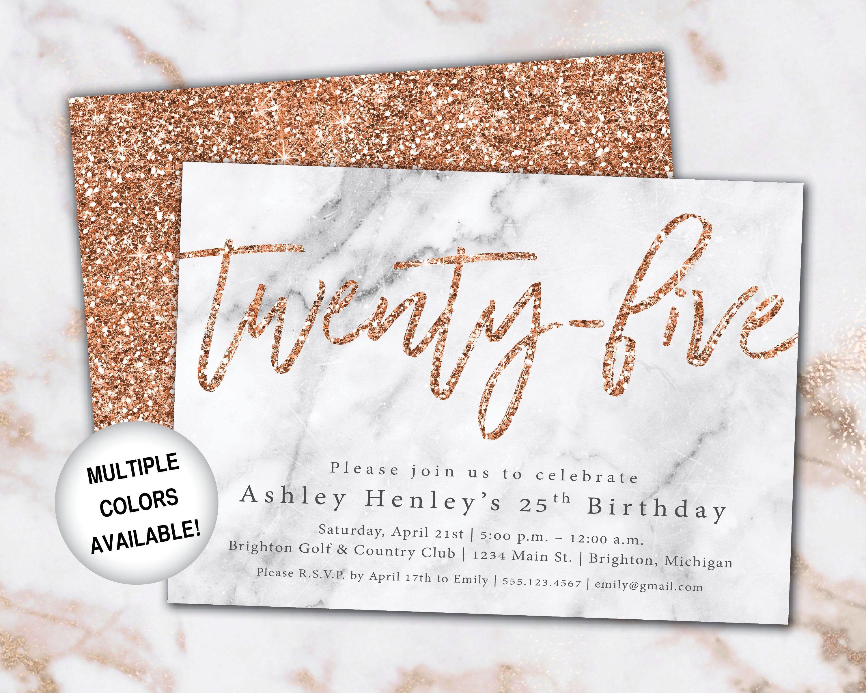 25th birthday invitation rose gold