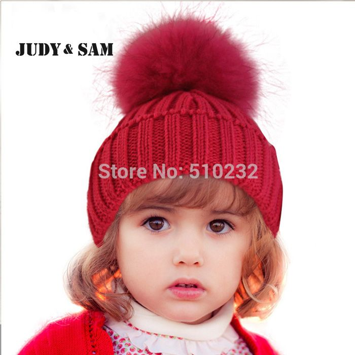 New 2015 Baby Kids Snow Hat Winter Wool Knit Beanie Raccoon Hats For Children Apparel Accessories Fashion Hat Christmas Gift