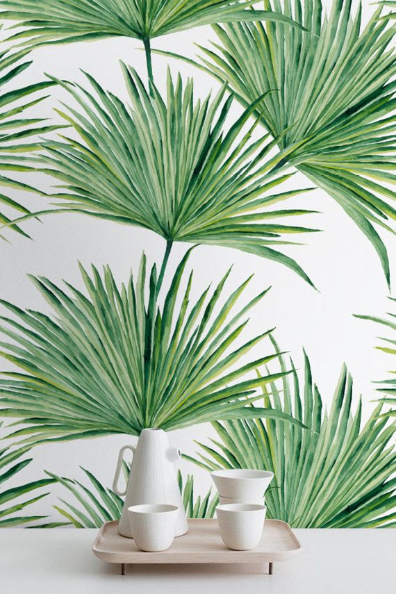 watercolor hand drawn palm leaves temporary wallpaper palm leaves wall mural exotic pattern. Black Bedroom Furniture Sets. Home Design Ideas