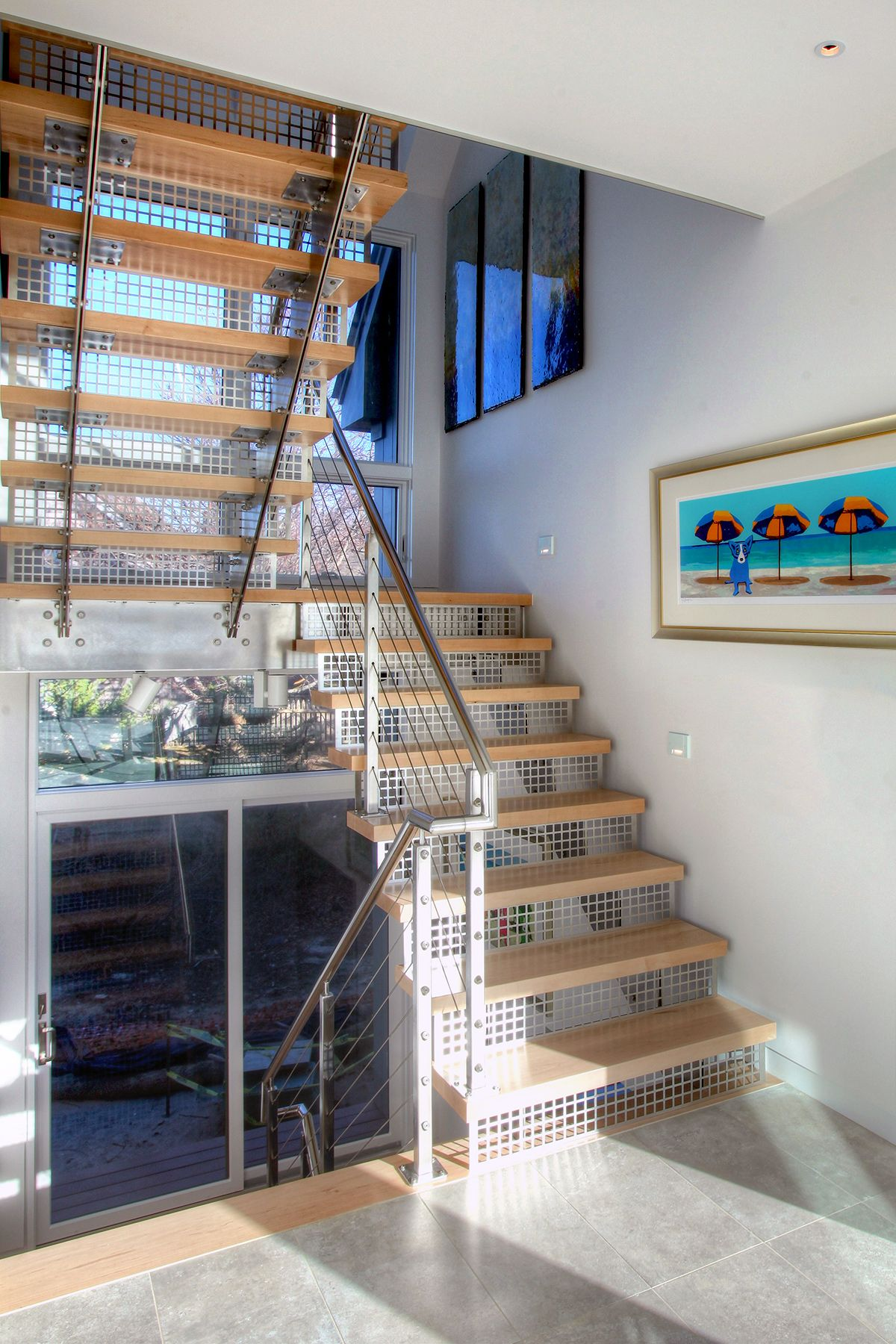 stainless steel stair risers, open stair case, switch back ...