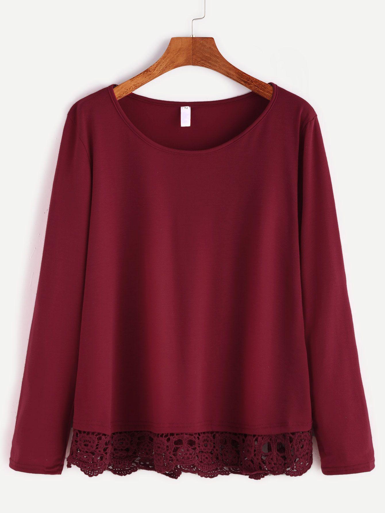 cd1dc1bd370 Shop Burgundy Contrast Crochet Hem T-shirt online. SheIn offers Burgundy  Contrast Crochet Hem T-shirt   more to fit your fashionable needs.