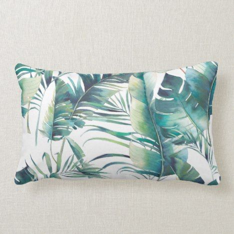 Watercolor Green Palm Leaf Jungle Pattern Lumbar Pillow | Zazzle.com #junglepattern
