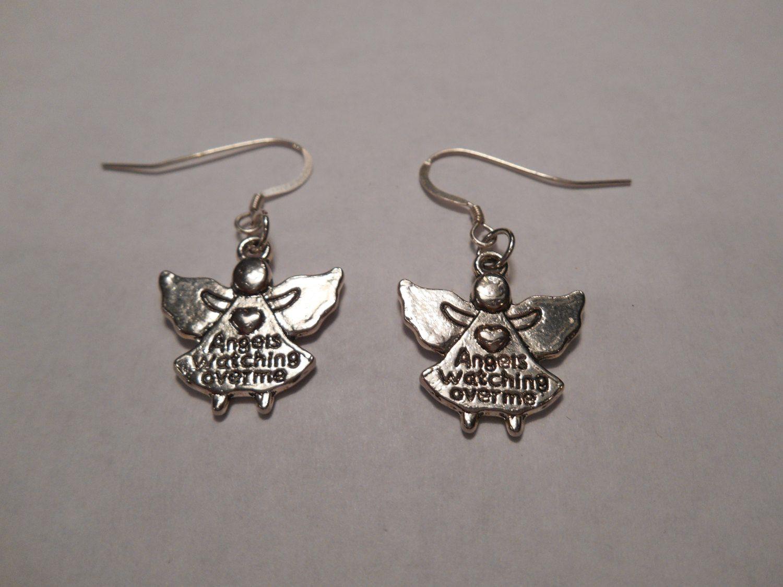 Silver Guardian Angel Watching Over Me Dangle Earrings by MysticMountainJewels on Etsy