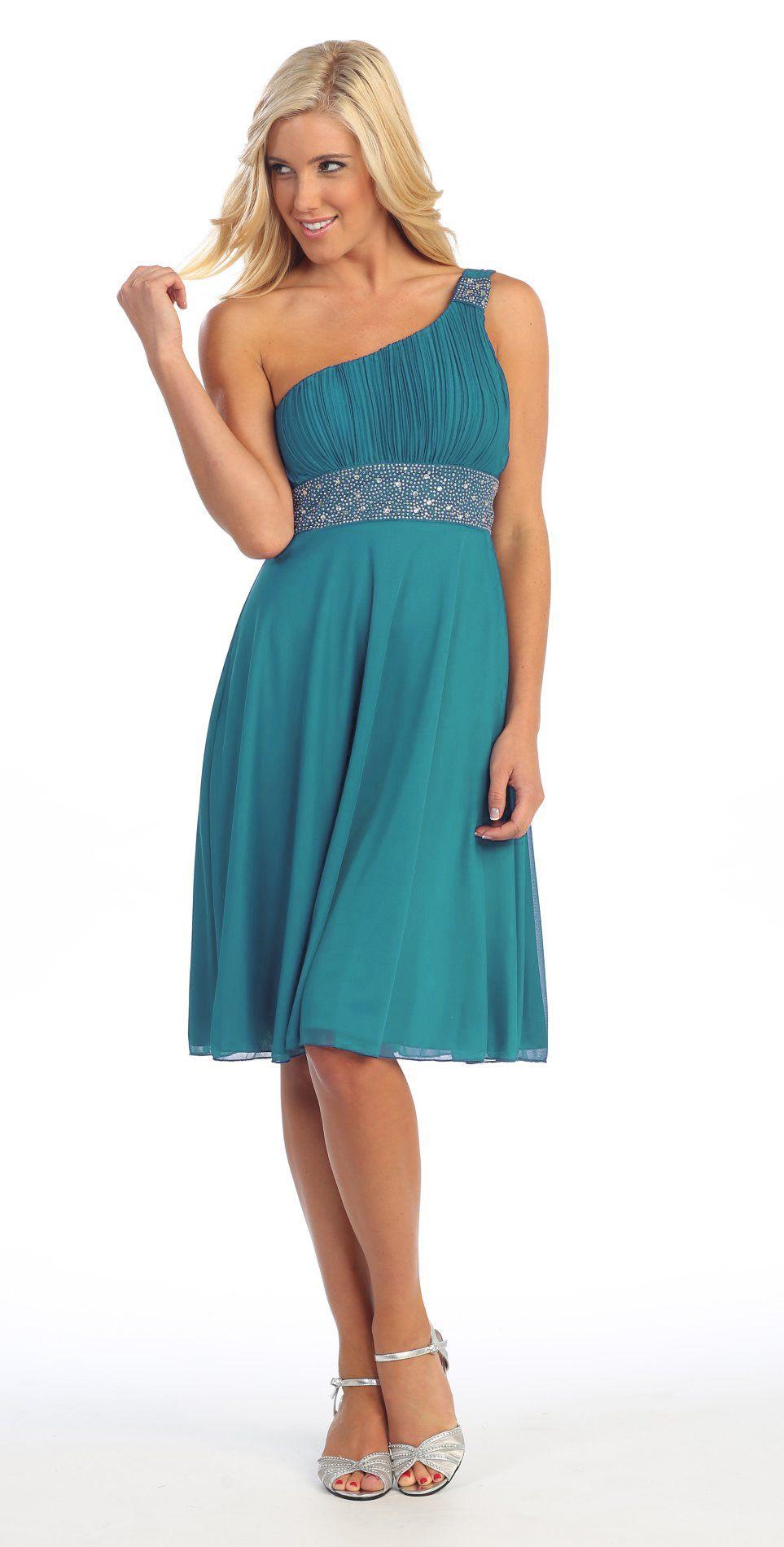 Green dress for wedding  Teal Knee Length Cruise Dress chiffon One Shoulder WJacket