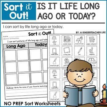 Long Ago And Today Sort Worksheets Social Studies And Kindergarten