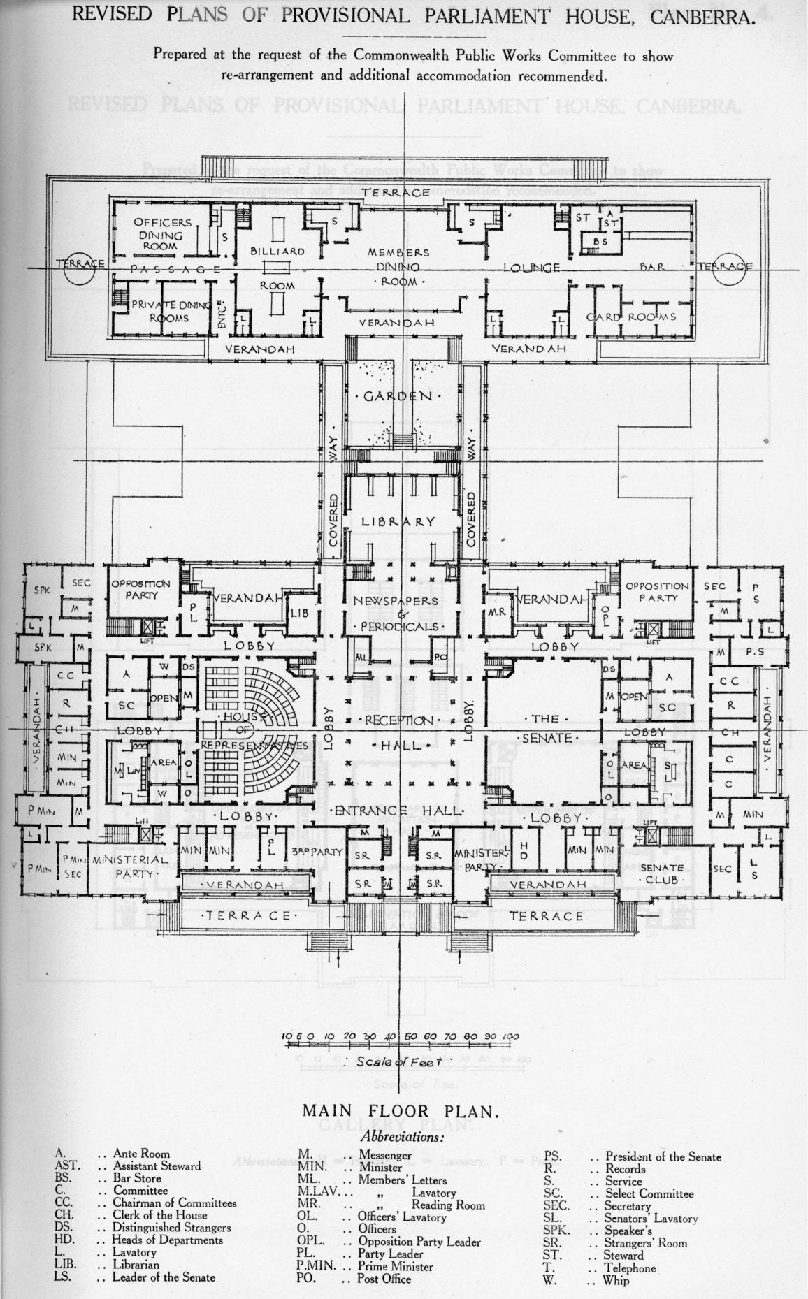 Revised Main Floor Plans Of Provisional Parliament House