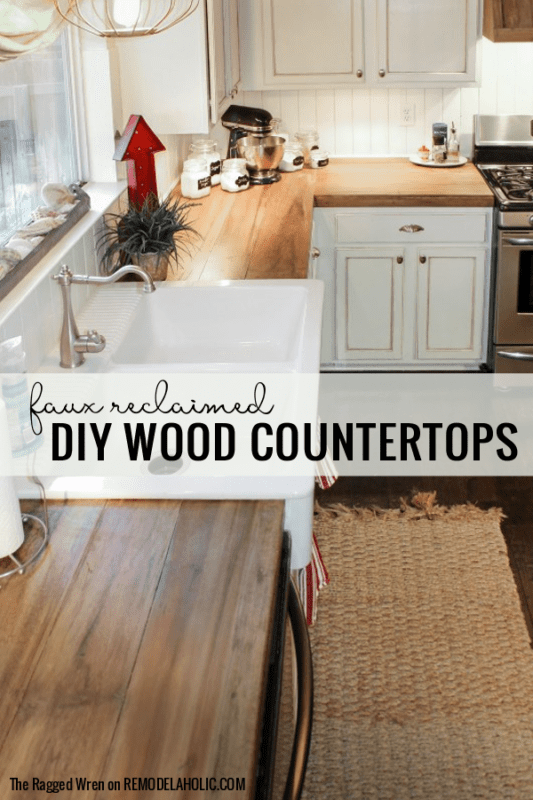 Diy Wooden Countertops With A Faux Reclaimed Wood Finish