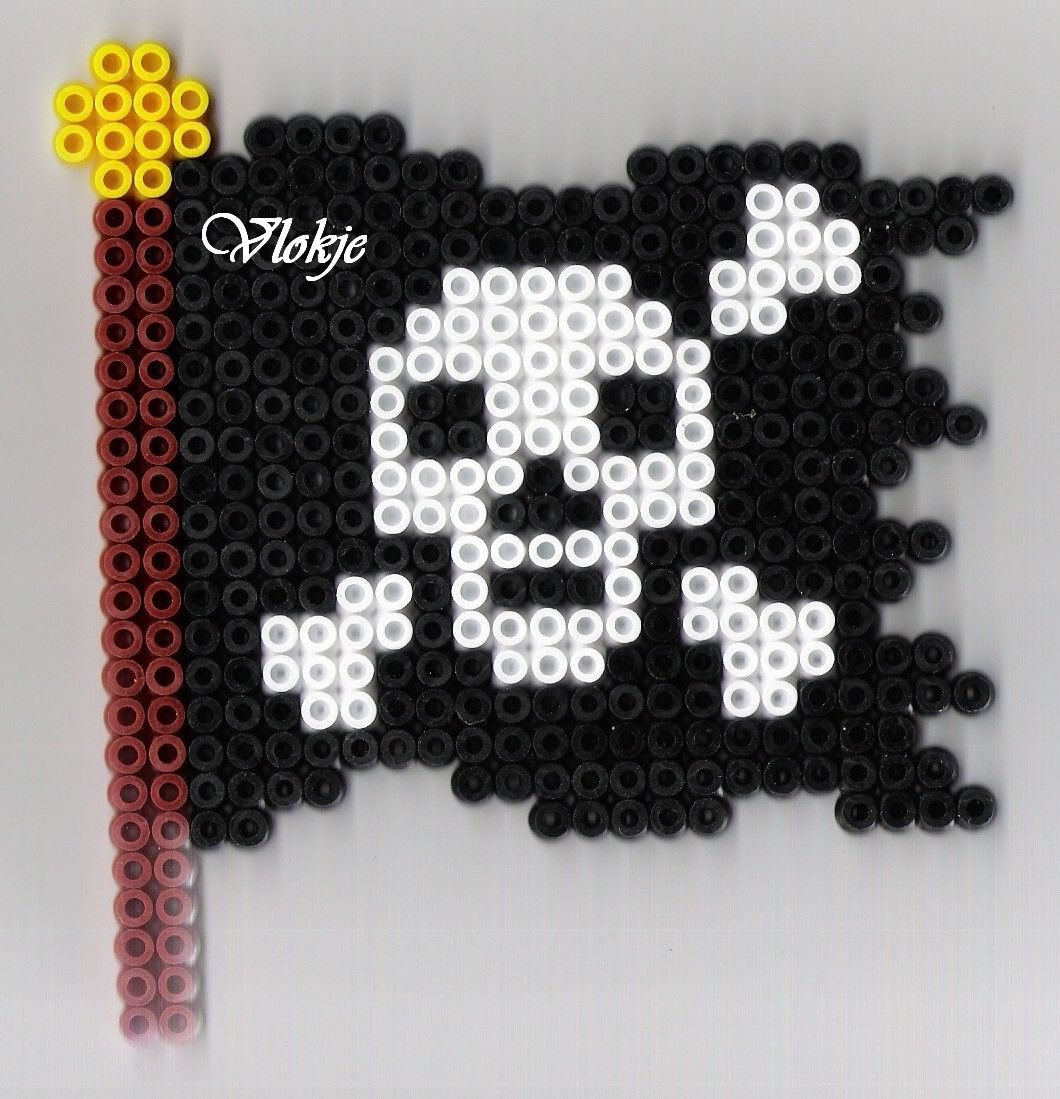 Pirate flag perler beads by vlokje | Perler | Pinterest | Bandera ...