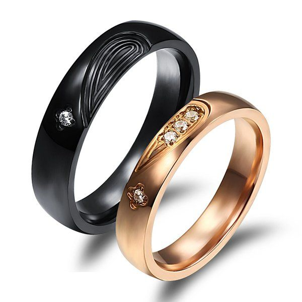 Heyrock 4mm Rose Gold Romantic Lover Crystal Tungsten Couples Band Ring lvH1U