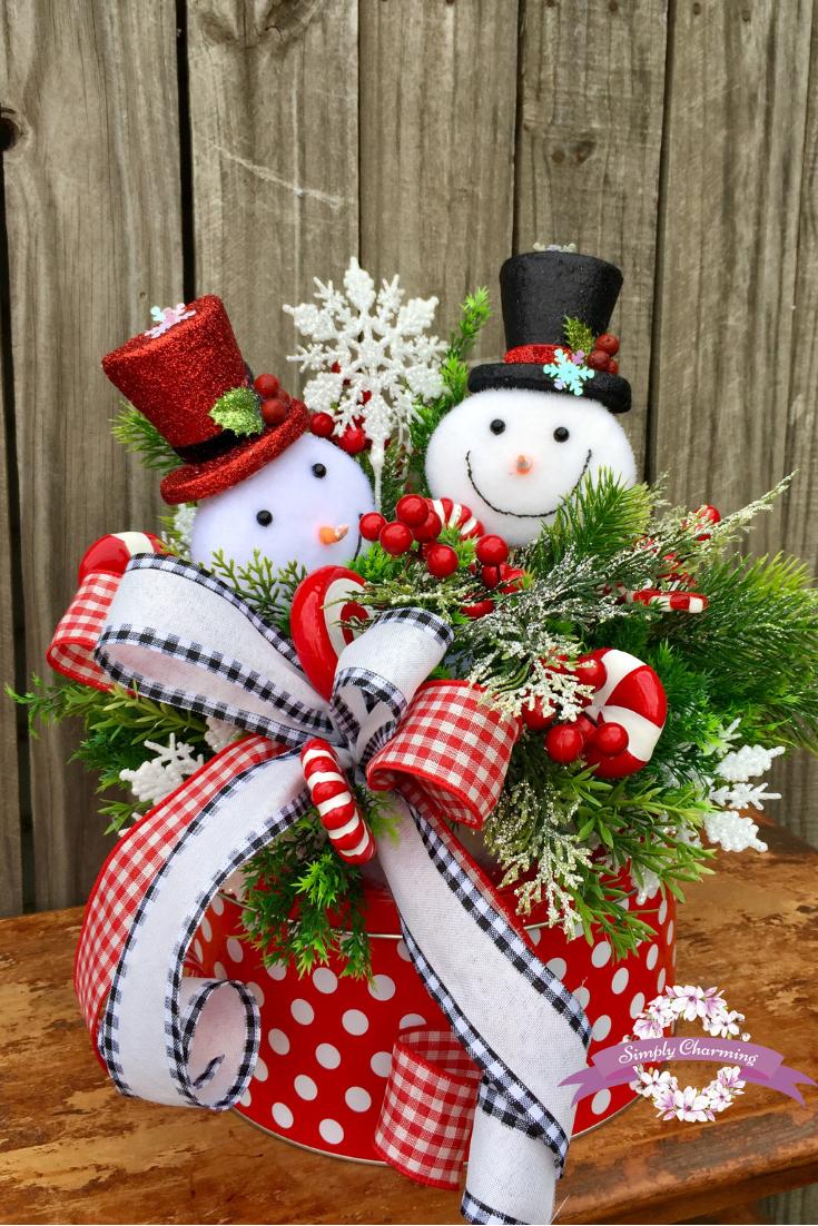 Snowman Centerpiece Whimsical Snowman Centerpiece Christmas Centerpiec Christmas Floral Arrangements Christmas Centerpieces Traditional Christmas Decorations
