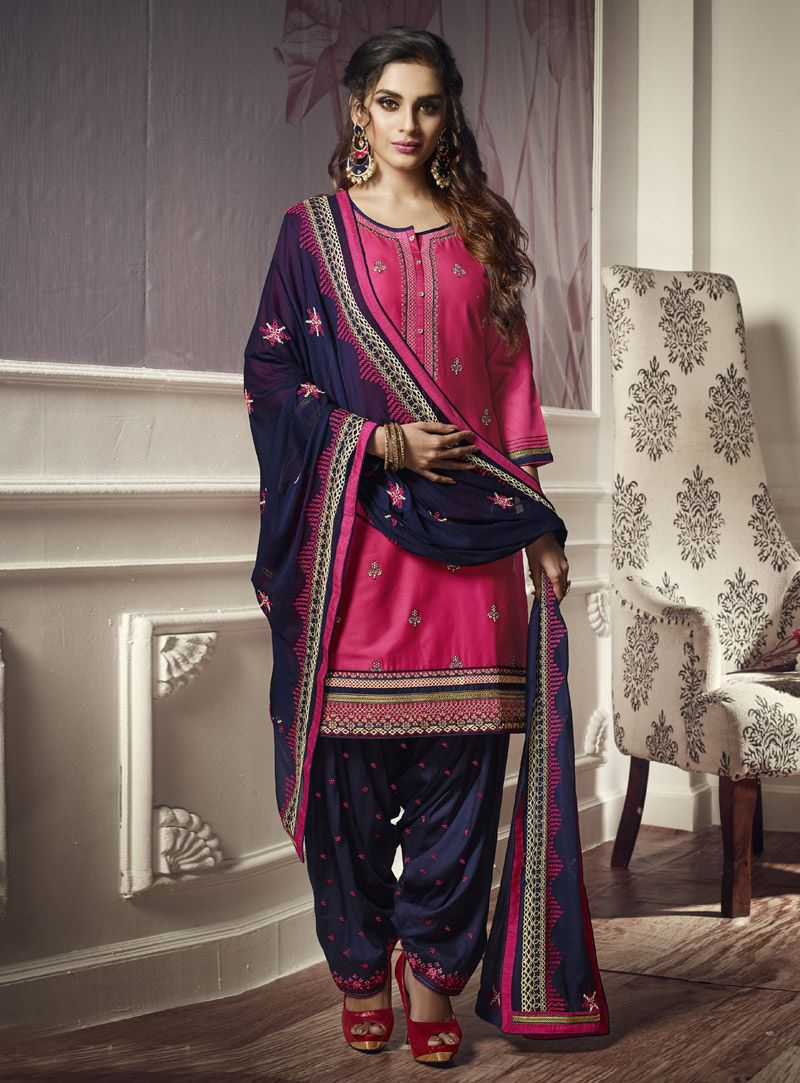 be0a8ba53f Buy Magenta Cotton Punjabi Suit 151016 online at lowest price from huge  collection of salwar kameez at Indianclothstore.com.