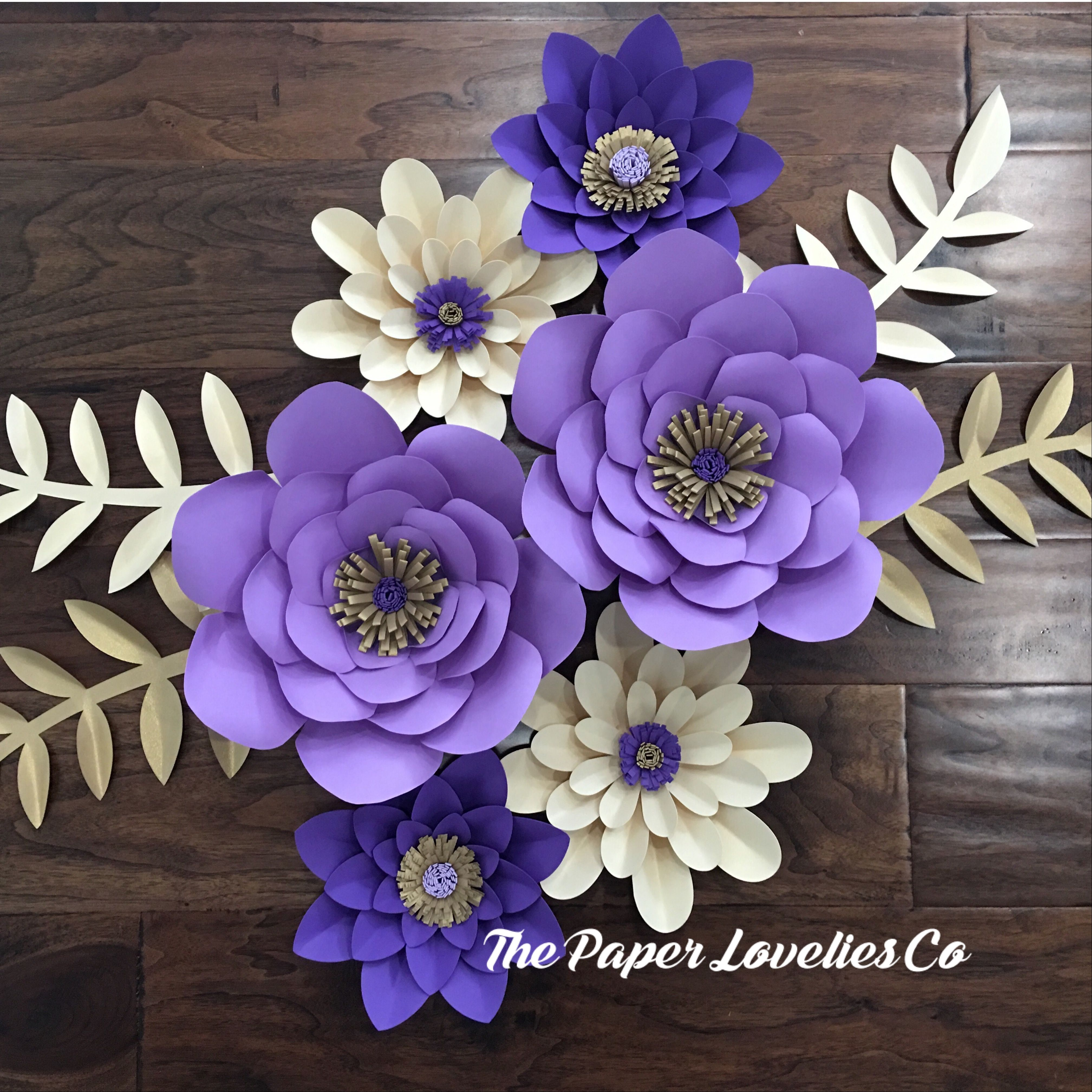 Purple And Gold Paper Flower Set The Paper Lovelies Co